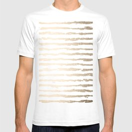 Simply Brushed Lines White Gold Sands on White T-shirt