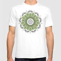 Star Mandala Green SMALL Mens Fitted Tee White