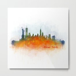 New York City Skyline Hq V03 Metal Print