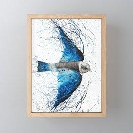 Blue Bird Listener Framed Mini Art Print