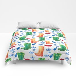 Colorful orange blue green watercolor cute wellies boots Comforters