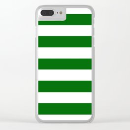 Emerald green - solid color - white stripes pattern Clear iPhone Case