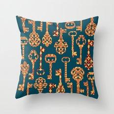 Yellow and Red Skeleton Key Pattern Throw Pillow