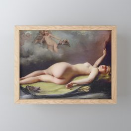 Reclining nude by Luis Ricardo Falero Framed Mini Art Print