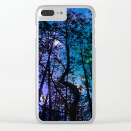 Black Trees Teal Purple Space Clear iPhone Case