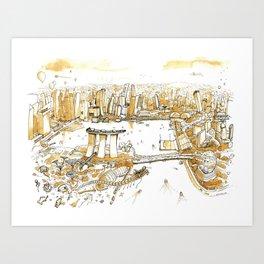 Marina Bay with Coffee Art Print