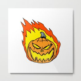 cartoon pumpkin in flames Metal Print