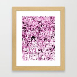 Ahegao Hentai Collage pink Framed Art Print
