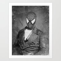 superheros Art Prints featuring Spidey Senior by Zach Terrell