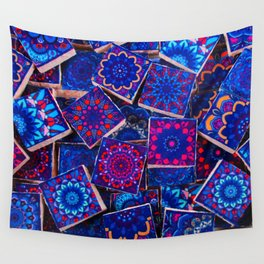 V9 Traditional Special Moroccan Colored Blue Stones - A2 Wall Tapestry