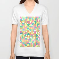 tetris V-neck T-shirts featuring Tetris by Alisa Galitsyna