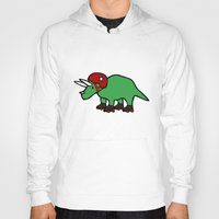 roller derby Hoodies featuring Roller Derby Triceratops by Jez Kemp