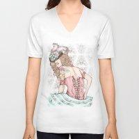 marie antoinette V-neck T-shirts featuring Marie Antoinette by Frances Louw