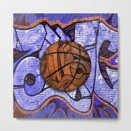 Purple Basketball Graffiti on Brick Wall Metal Print
