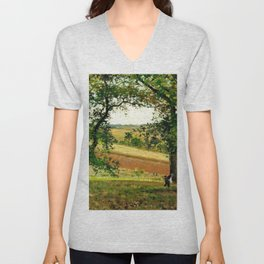 Chestnut Trees At Osny 1873 By Camille Pissarro | Reproduction | Impressionism Painter Unisex V-Neck