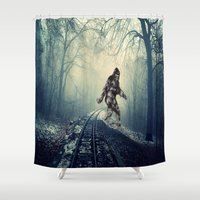 bigfoot Shower Curtains featuring Misty Railway Bigfoot Crossing by D.A.S.E. 3