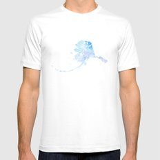 Typographic Alaska - Blue Watercolor print White MEDIUM Mens Fitted Tee