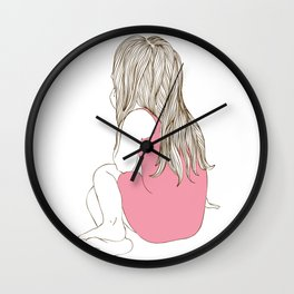 Little girl in a pink dress sitting Wall Clock
