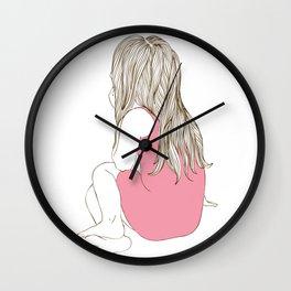 Little girl in a pink dress sitting Wall Clock