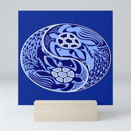 Yin Yang Marine Life Sign Classic Blue Monochrome Mini Art Print