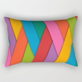 Abstract Colorful Decorative 3D Striped Pattern Rectangular Pillow