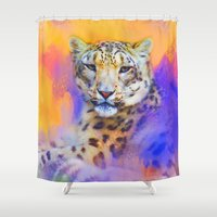 snow leopard Shower Curtains featuring Colorful Expressions Snow Leopard by Jai Johnson