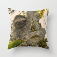 sloth Throw Pillows featuring Sloth by MehrFarbeimLeben