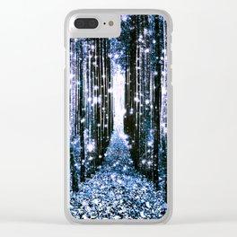 Magical Forest Dark Blue Elegance Clear iPhone Case