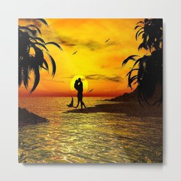 Sunset Kissed Mermaid Silhouette Metal Print