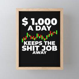 Stock Trading Chart $1000 Money Framed Mini Art Print