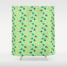 Freely Birds Flying - Fly Away Version 3 - Mint Green Color Shower Curtain