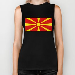 Flag of Macedonia - authentic (High Quality image) Biker Tank