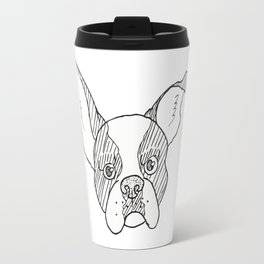 Grumpy B&W Boston Terrier Travel Mug