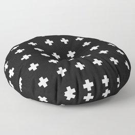 Small Swiss Cross Black Floor Pillow