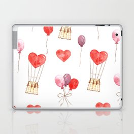 love in the air  watercolor pattern wit hearts, balloons Laptop & iPad Skin