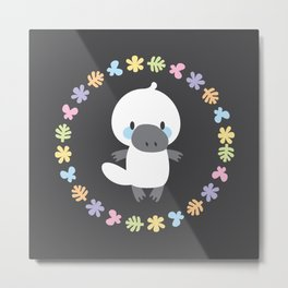 Cute white platypuses Metal Print