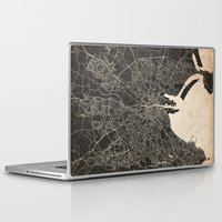 dublin Laptop & iPad Skins featuring dublin map ink lines by Les petites illustrations