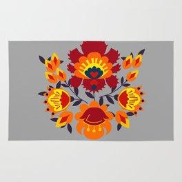 Folk flowers in orange shades Rug