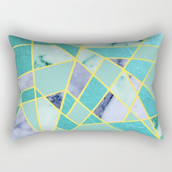 Abstract #439 in Green and Gold Rectangular Pillow