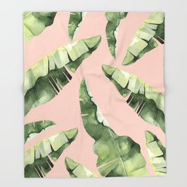 Banana Leaves 2 Green And Pink Throw Blanket