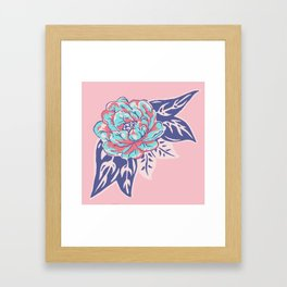 Cabbage Rose Tattoo Flash Framed Art Print