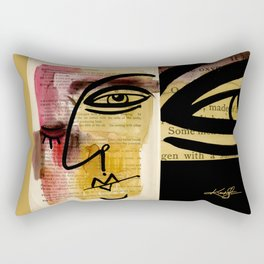 "Funky Face Abstract, ""I See 38"" by Kathy morton Stanion Rectangular Pillow"