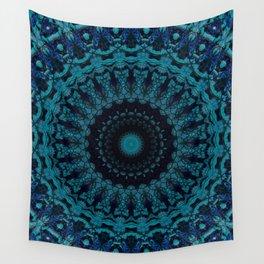 Mandala in light and dark blue tones Wall Tapestry