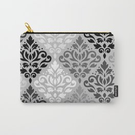 Scroll Damask Ptn Art BW & Grays Carry-All Pouch