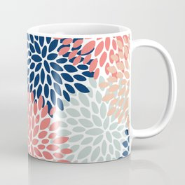 Floral Bloom Print, Living Coral, Pale Aqua Blue, Gray, Navy Coffee Mug