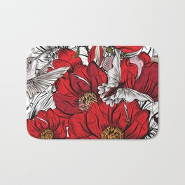 Boho Chic Red Poppy Flowers with Black and White Background Bath Mat
