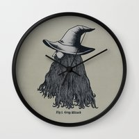 wizard Wall Clocks featuring Grey Wizard by pigboom el crapo