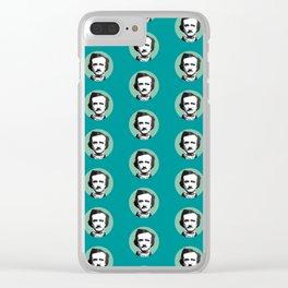 Edgar Allan Poe-ka Dots Teal Clear iPhone Case