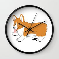 corgi Wall Clocks featuring Corgi by Leslie Pierrot