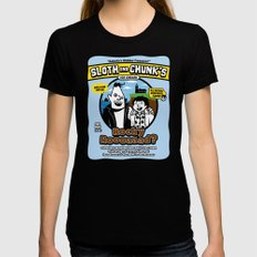 Sloth and Chunk's Ice Cream MEDIUM Womens Fitted Tee Black